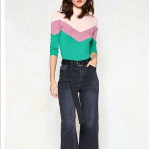 Nasty Gal You're Chevron of a Kind Color Block Top